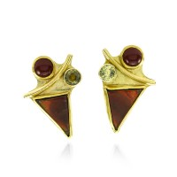 Artisan Jan McClellan Handmade Multi-Gem Earrings in Gold