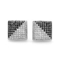 Pave Black & White Diamond Cluster Contemporary Earrings in 18K White Gold