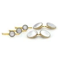 Mother of Pearl Round Cufflinks in Gold and Platinum