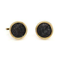 Silver Ancient Coin Cufflinks in Gold