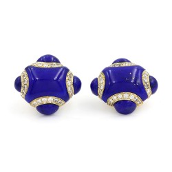 Lapis and Diamond Cufflinks in Gold
