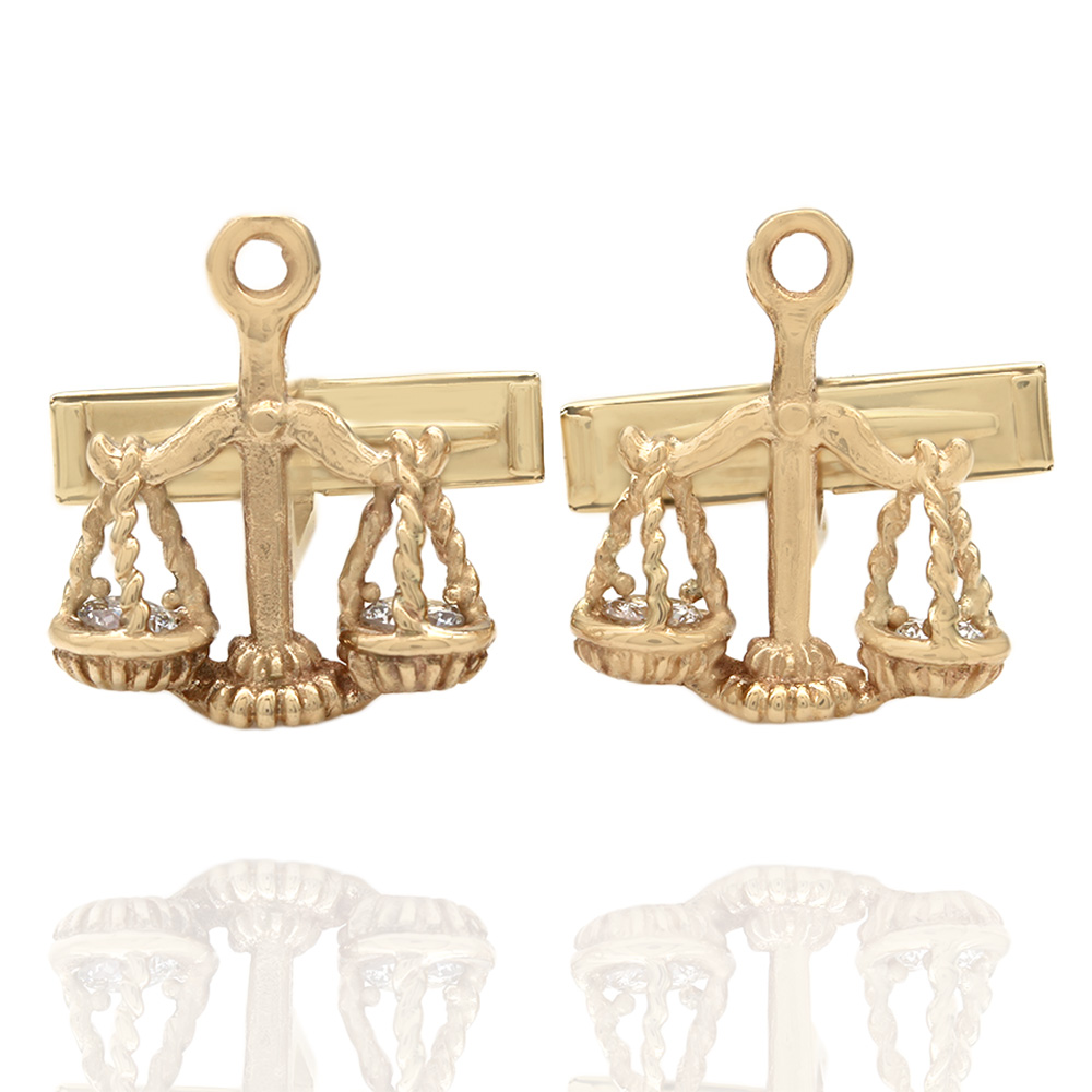Scale of Justice Cufflinks with Diamond Accents