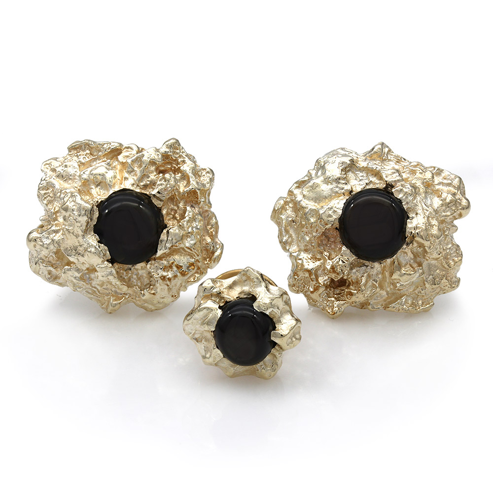 14KY Nugget Cufflinks with Black Star Sapphires