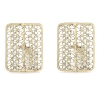 Rectangular Filigree Cufflinks in Gold