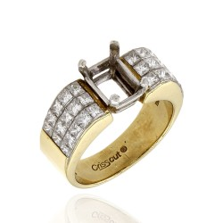 Christopher Designs Invisible Princess Diamond Ring Mounting in Gold