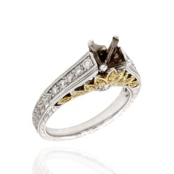 Pave Diamond Engagement Ring Mounting in Two Tone Gold