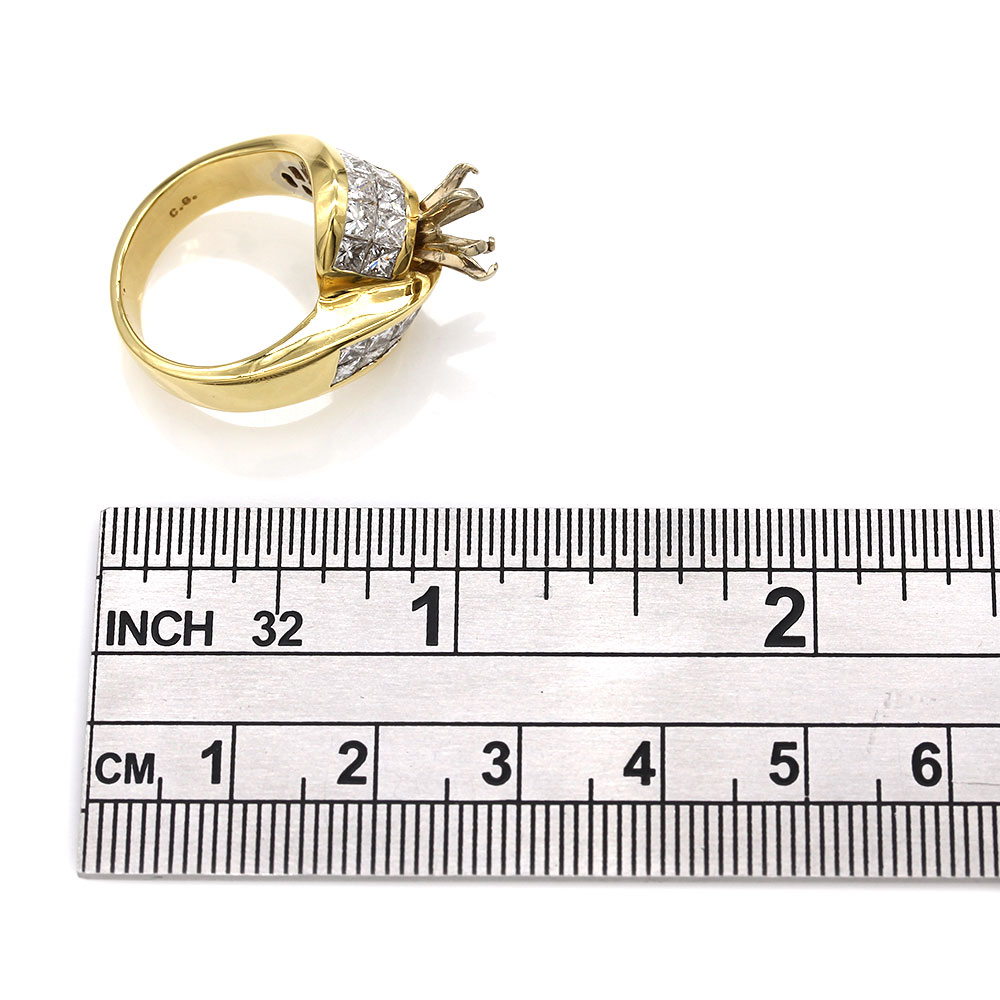 Invisible Princess Diamond Ring Mounting in Gold