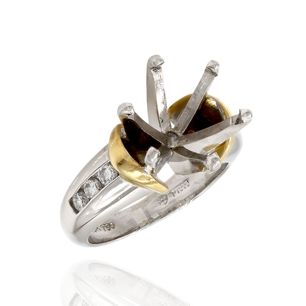 Diamond Ring Mounting in Platinum and Gold