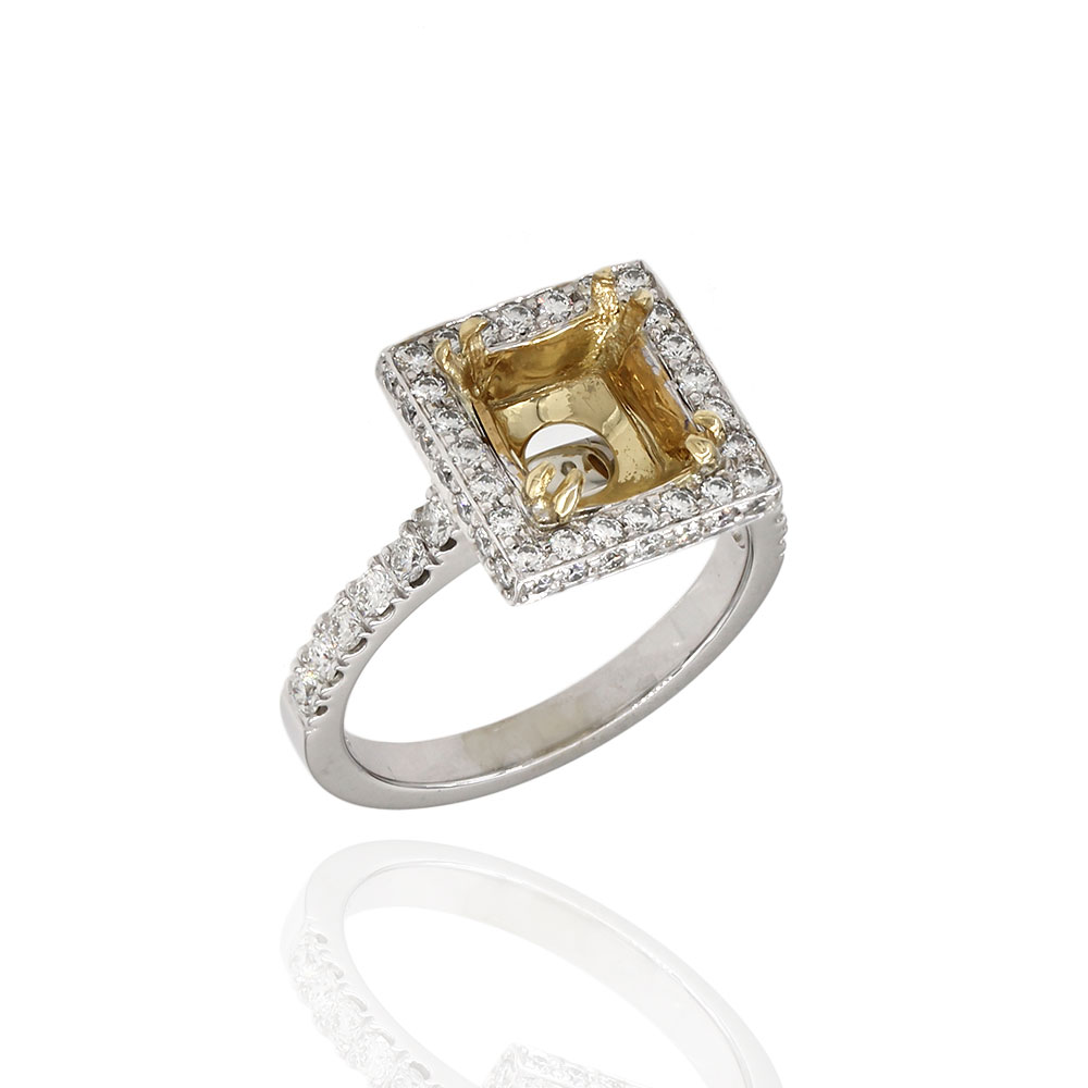 Pavve Diamond Square Top Halo Ring Moutning in Gold