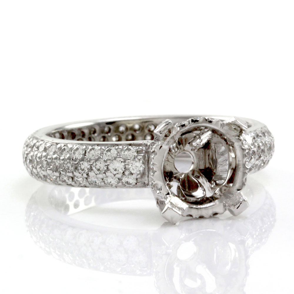 Pave Diamond Bridal Engagement Ring Mounting in Gold