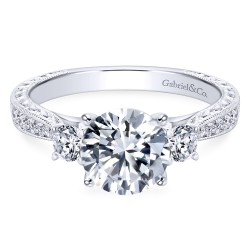 Gabriel & Co 'Victorian' Diamond Ring Mounting in 14K White Gold