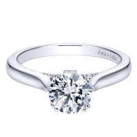 Gabriel & Co. Amavida Solitaire Ring Mounting w/ Pave Diamonds in 18K White Gold