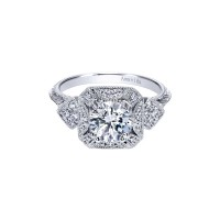 Gabriel & Co. Amavida Pave Diamond & Filigree Ring Mounting in 18K White Gold