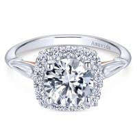 Gabriel & Co. Amavida Diamond Halo Ring Mounting in 18K White & Rose Gold