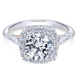 Gabriel & Co. Amavida Diamond Halo Ring Mounting in 18K White Gold w/ Rose Gold Accents