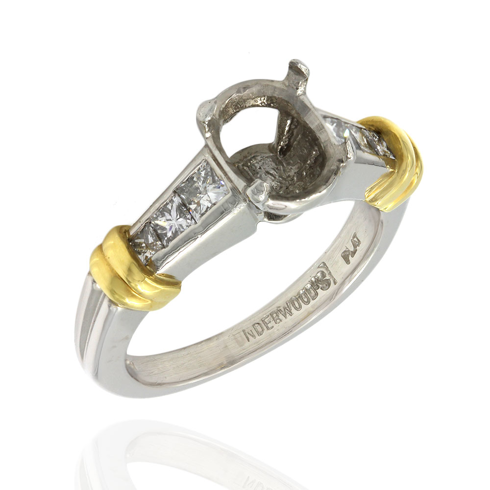 Princess Diamond Engagement Ring Mounting in Gold