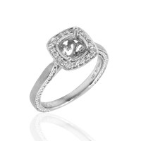 Gabriel & Co. Micro-Pave Diamond Halo Ring Mounting in Gold