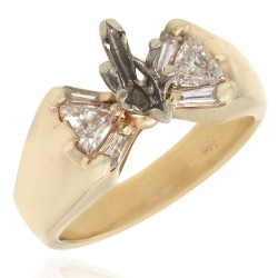 Triangle and Baguette Diamond Mounting in 14k Yellow Gold