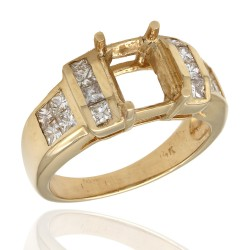 Channel Set Princess Diamond Mounting in 14k Yellow Gold