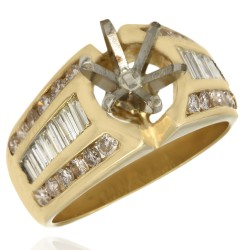 Three Row Channel Set Round and Baguette Diamond Mounting in 14k Yellow Gold
