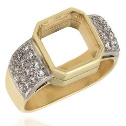 Pave Diamond Mounting with European Foundation in 18k White and Yellow Gol