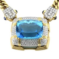 Custom Made Blue Topaz, Sapphire and Pave Diamond Statement Necklace in Gold