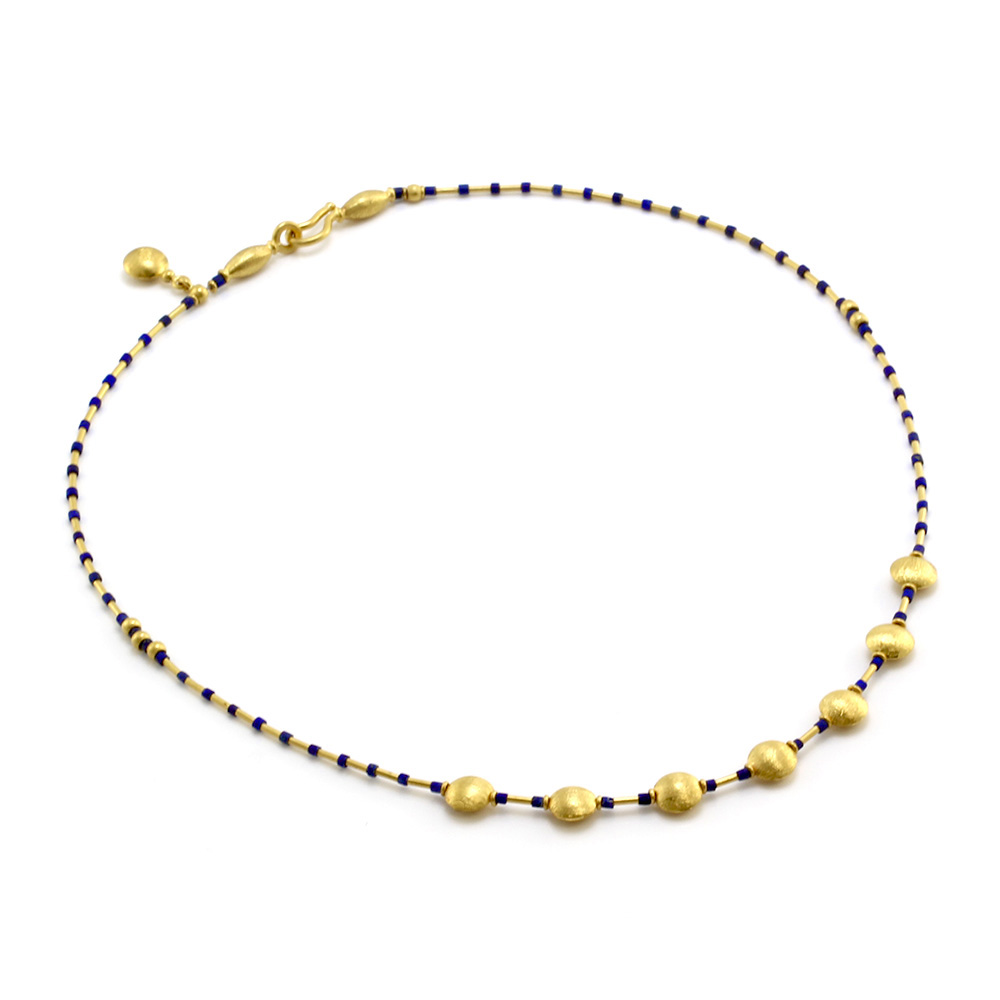 Gold Bead & Lapis Station Necklace in 23K Yellow Gold