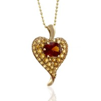 Citrine Cluster Heart Necklace in Gold