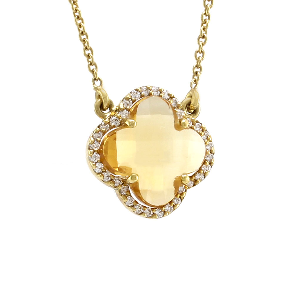 Norman Covan Citrine Flower and Diamond Necklace in Gold