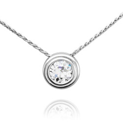 Bezel Set Diamond Solitaire Necklace in Gold
