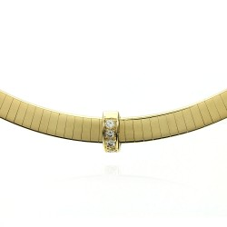 Flat Gold Omega Necklace with Diamond Slide Pendant