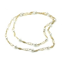 Baroque Pearl Station Necklace in Gold