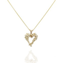 Diamond Cluster Heart Necklace in Gold