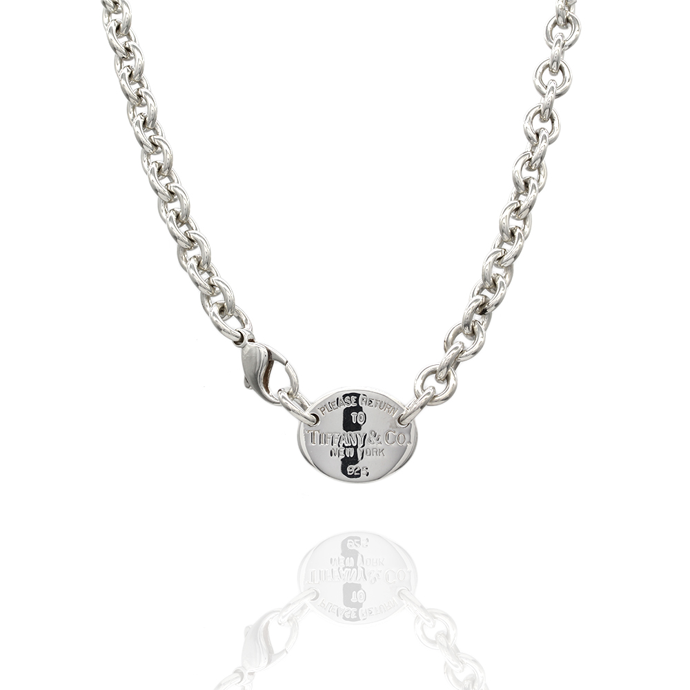 Tiffany Oval Tag Necklace in Silver