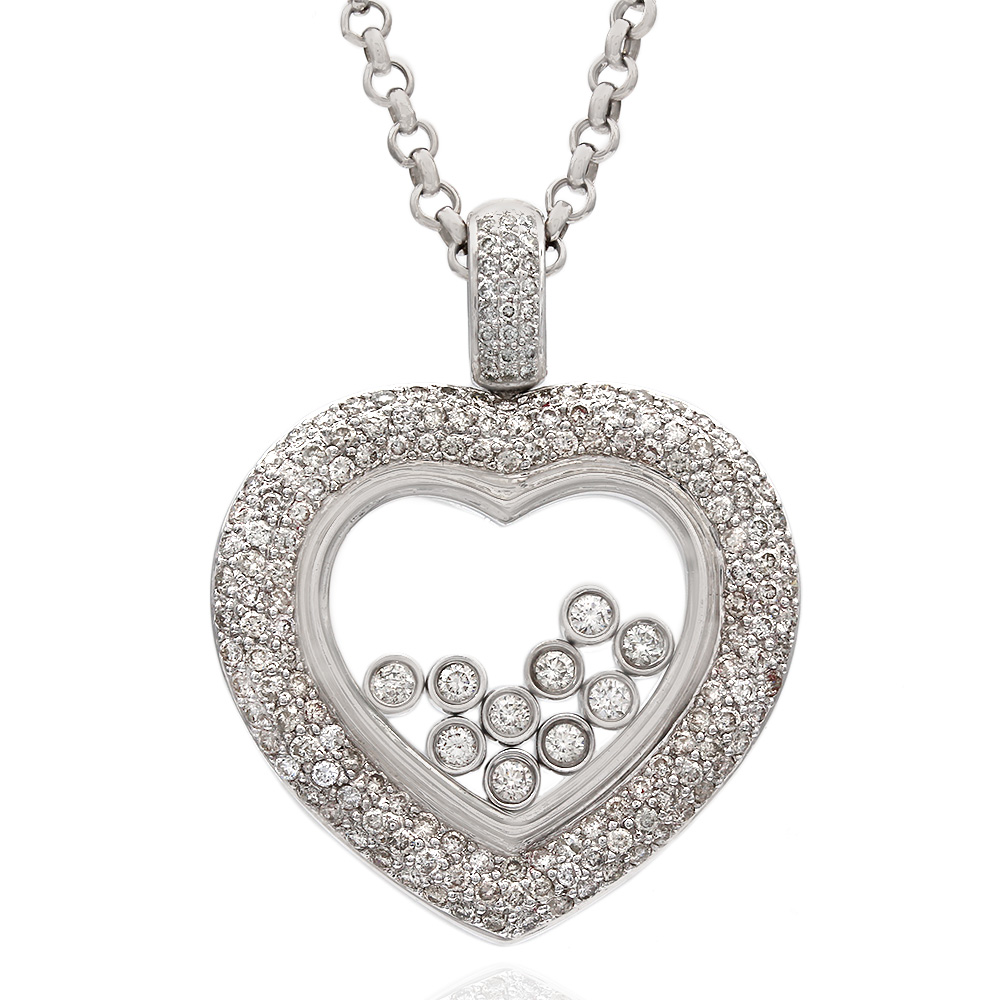 Pave and Bezel Set Round Diamond Heart Pendant in 14k White Gold