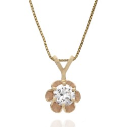 Diamond Solitaire Drop Necklace in Gold