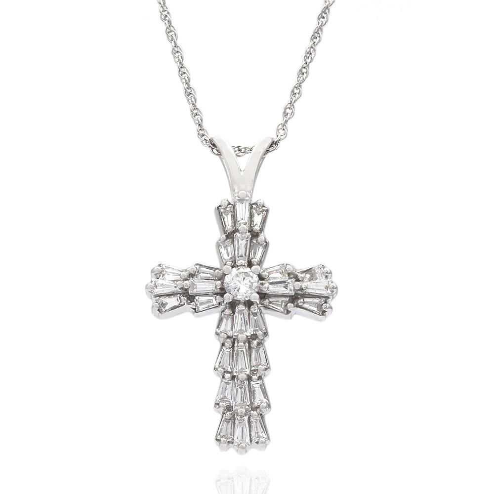 Round and Baguette Diamond Cross on Double LInk Chain