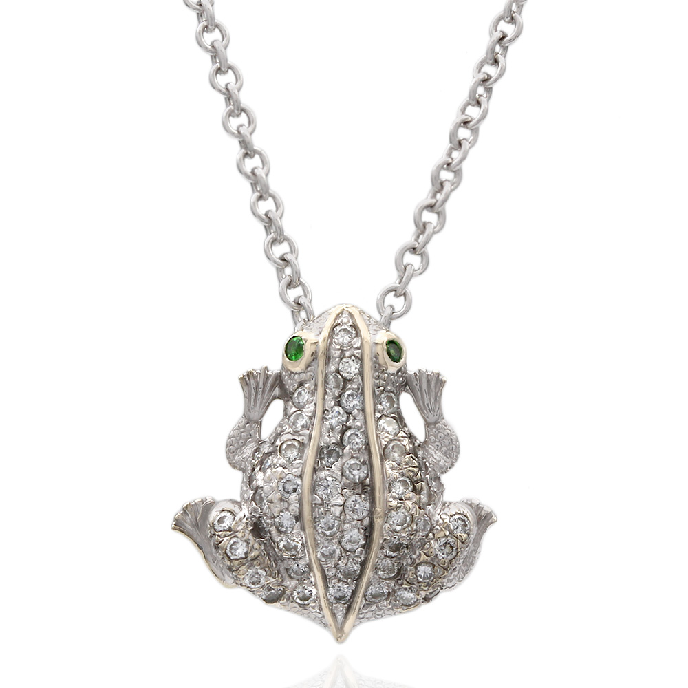 Roberto Coin Tiny Treasures Diamond Frog Necklace