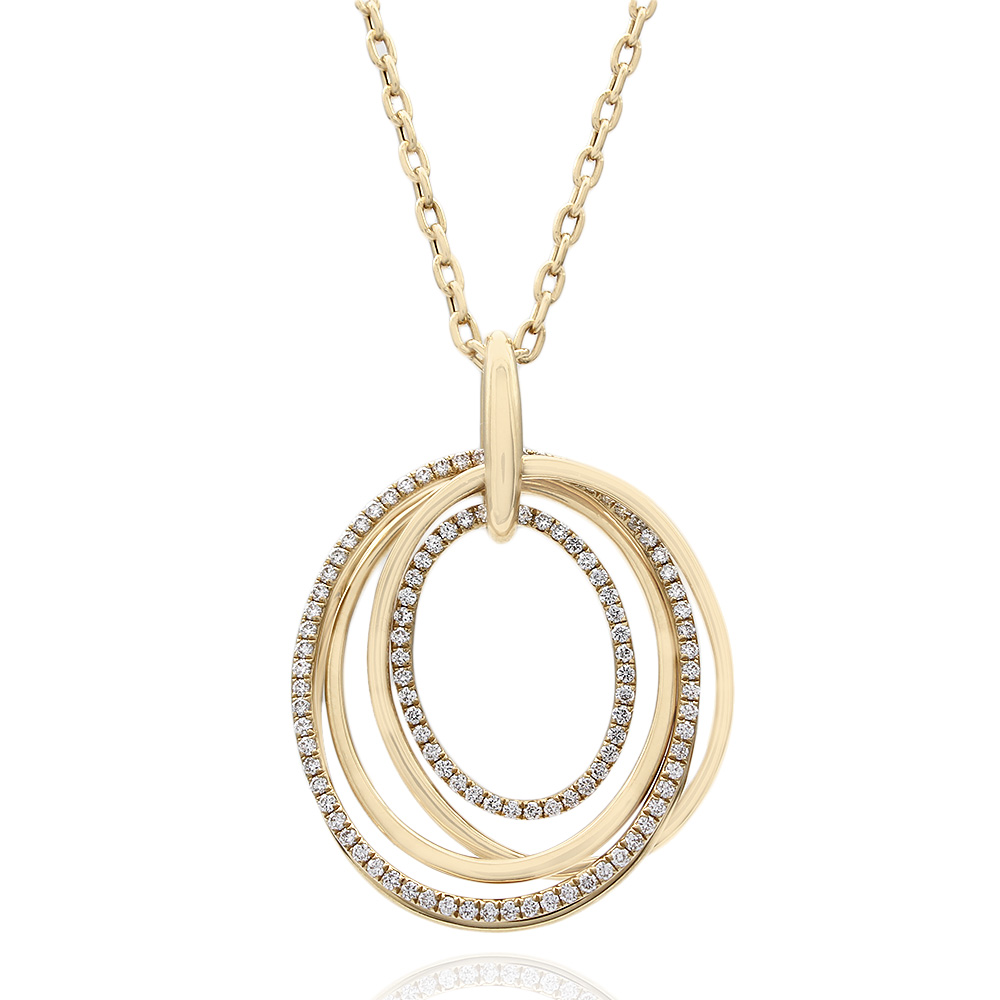 Alternating High Polish and Diamond Multi-Oval Pendant in 18k Yellow Gold