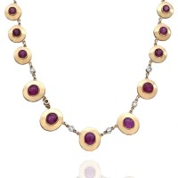 Ruby Station Necklace with Diamond Accents