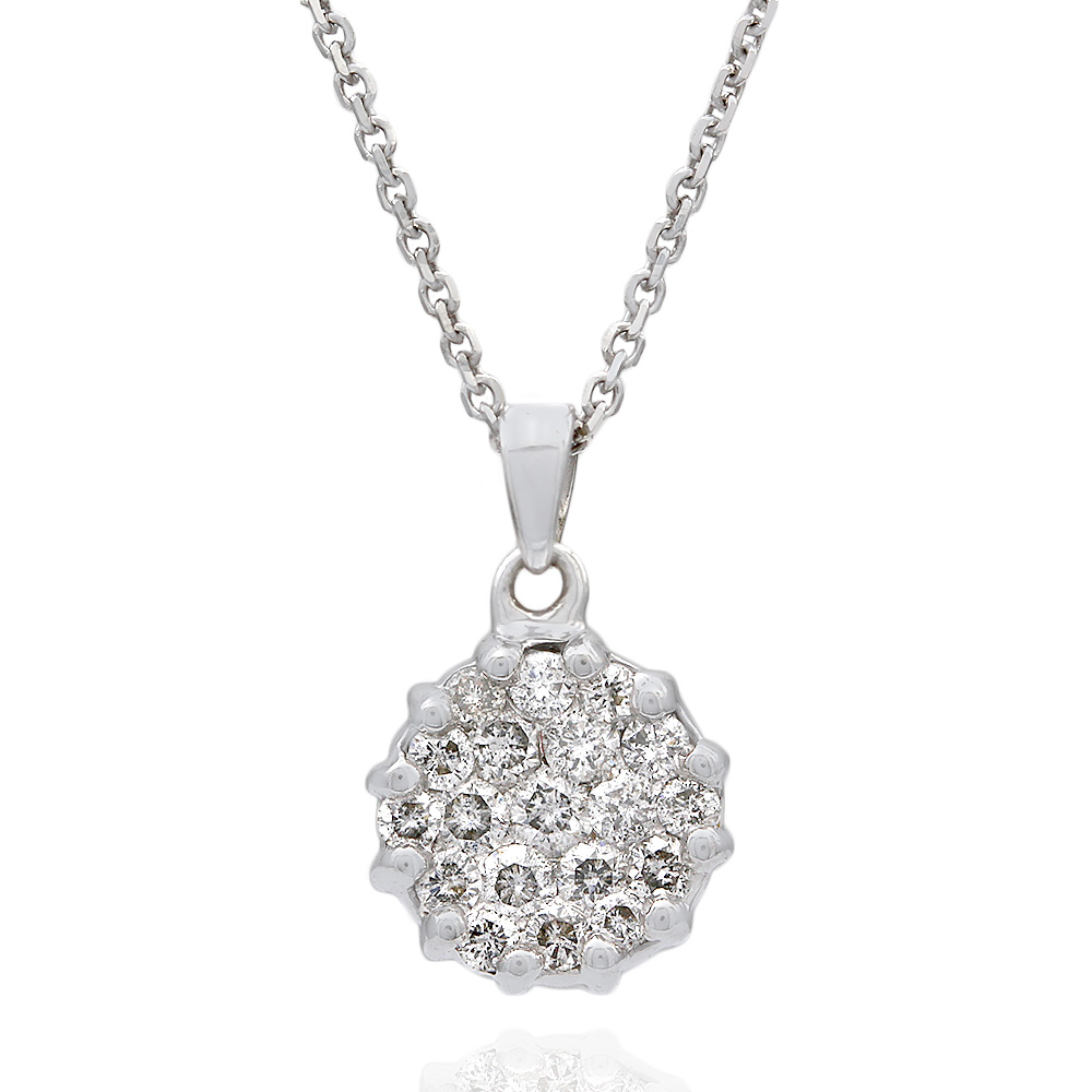 Diamond Pave Round Drop on Cable Chain Necklace