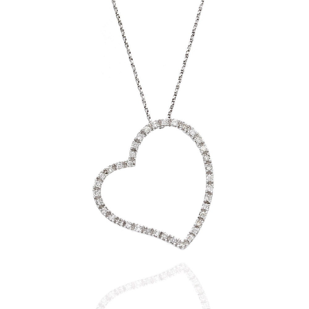 Diamond Open Floating Heart on Twisted Box Chain Necklace