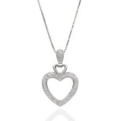 Diamond Double Heart Drop Necklace on Box Chain