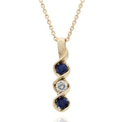 3 Stone Sapphire and Diamond Swirl Drop on Cable Chain Necklace