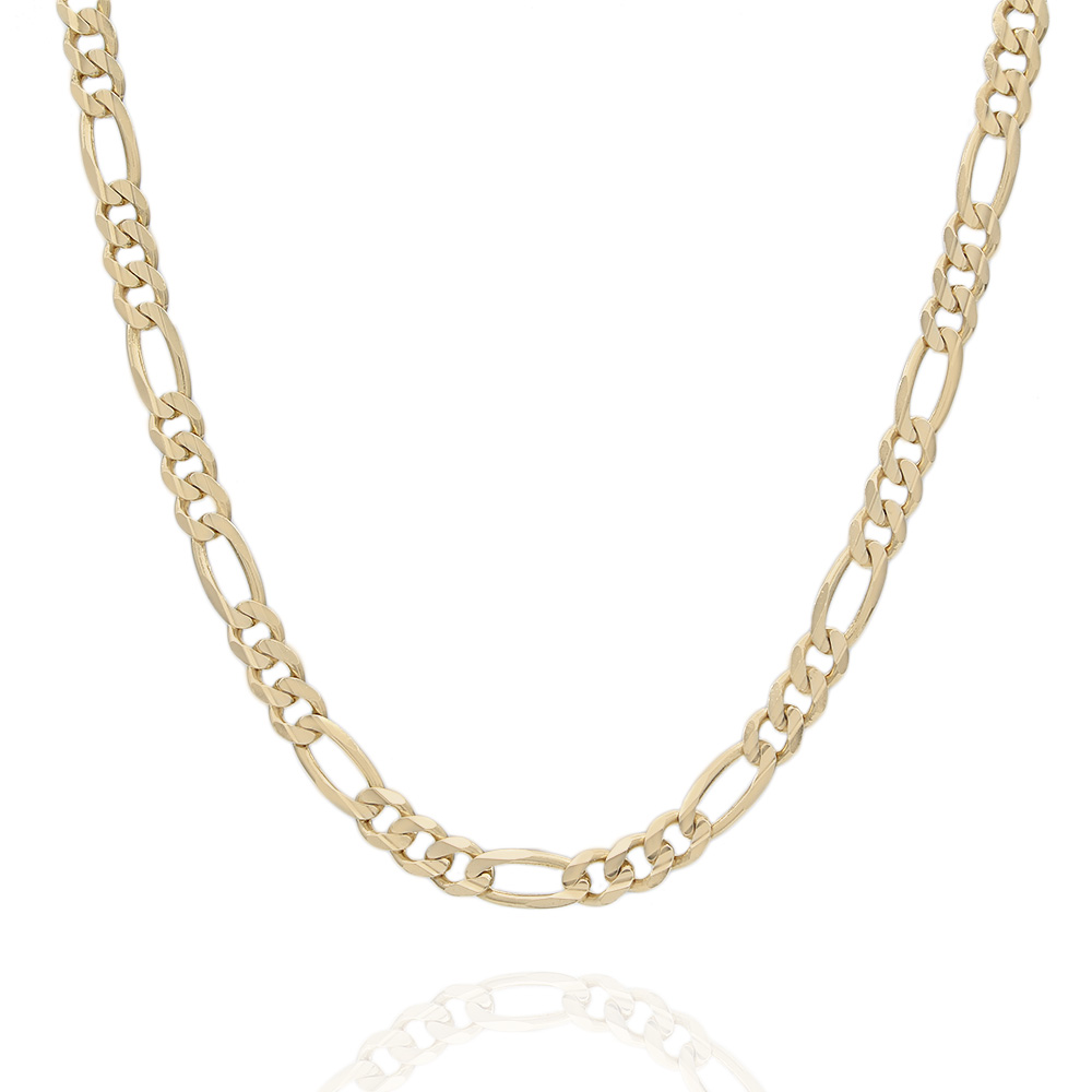 Bright Cut Figaro Link Chain Necklace