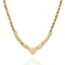 Rope Chain Necklace with Heart Station