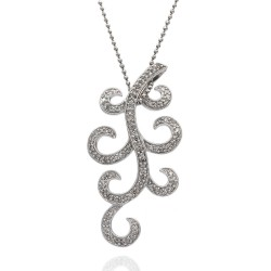 Pave Diamond Swirl Necklace in 14k White Gold