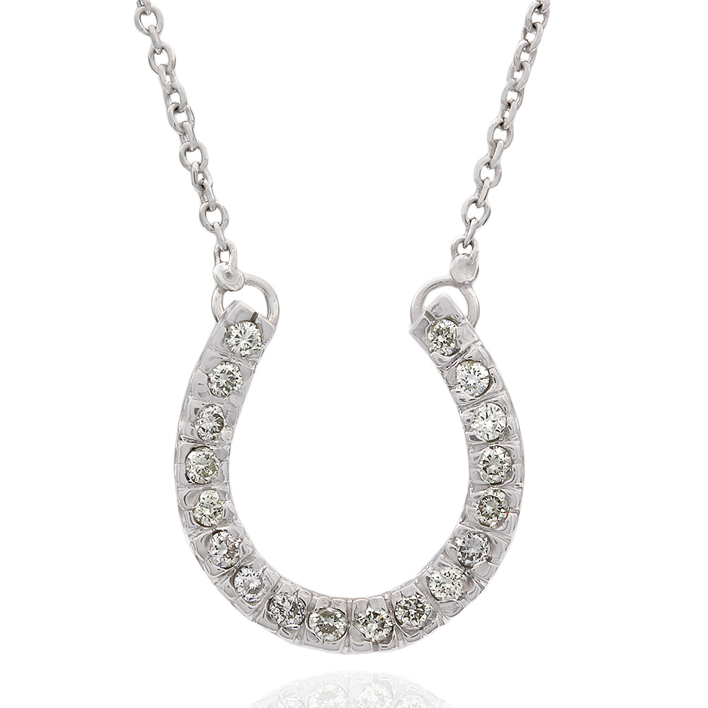Diamond Horseshow Necklace in 14k White Gold