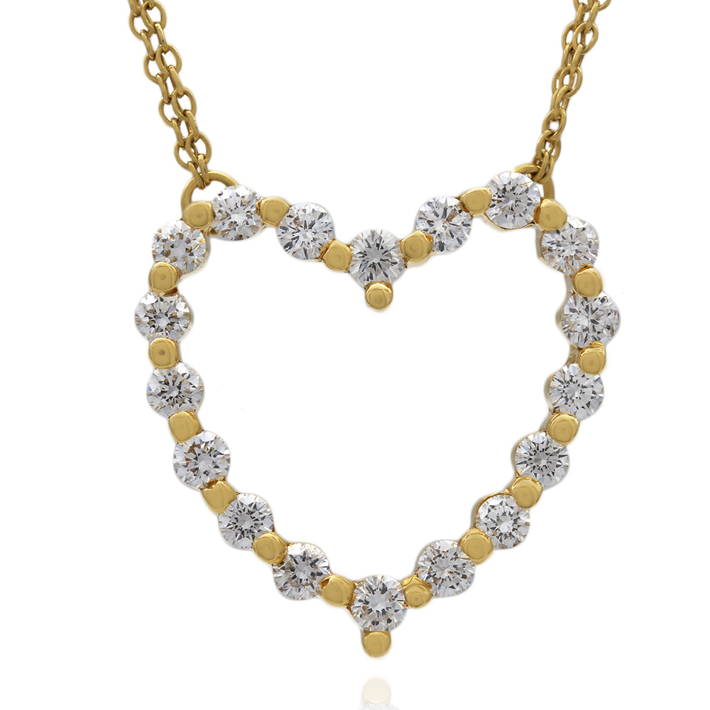 Double Chain Diamond Heart Necklace in 18k Yellow Gold