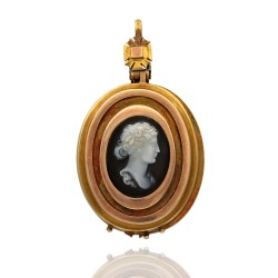 Antique Oval Cameo Locket Pendant